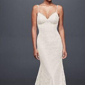 WEDDING DRESS- Soft Lace Wedding Dress w/ Low Back